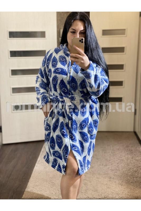 Женский махровый короткий халат Woman Romance Style 0133