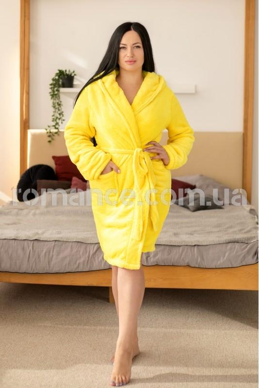 Женский желтый махровый халат Woman Romance Style 2677