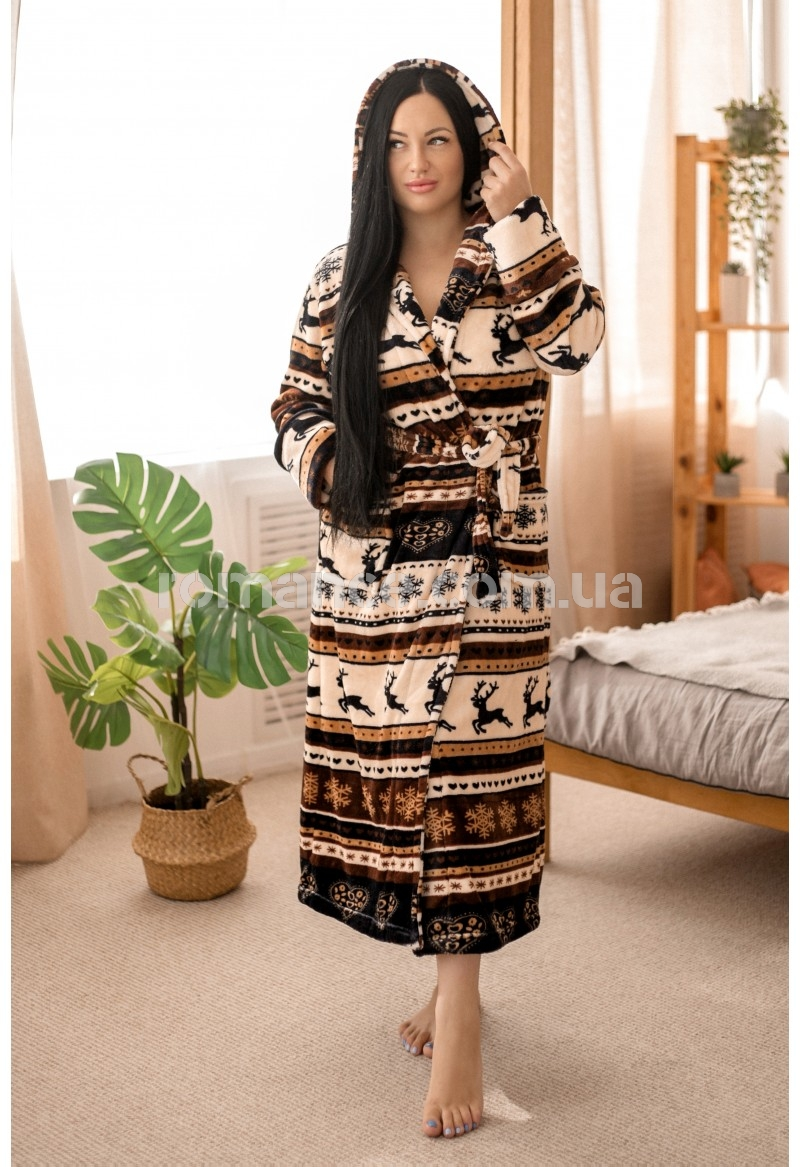 Женский махровый халат Indian Woman Romance Style 20765