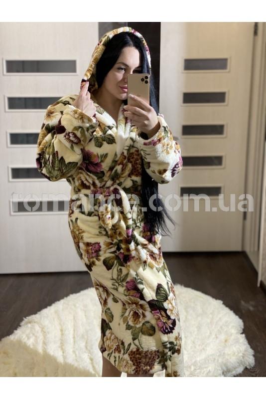 Женский махровый халат Beige Flowers  Woman Romance Style 20761