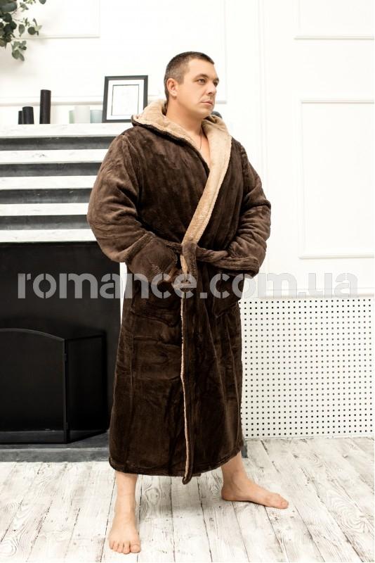 Мужской махровый Шоколадный халат Man Romance Style 2371