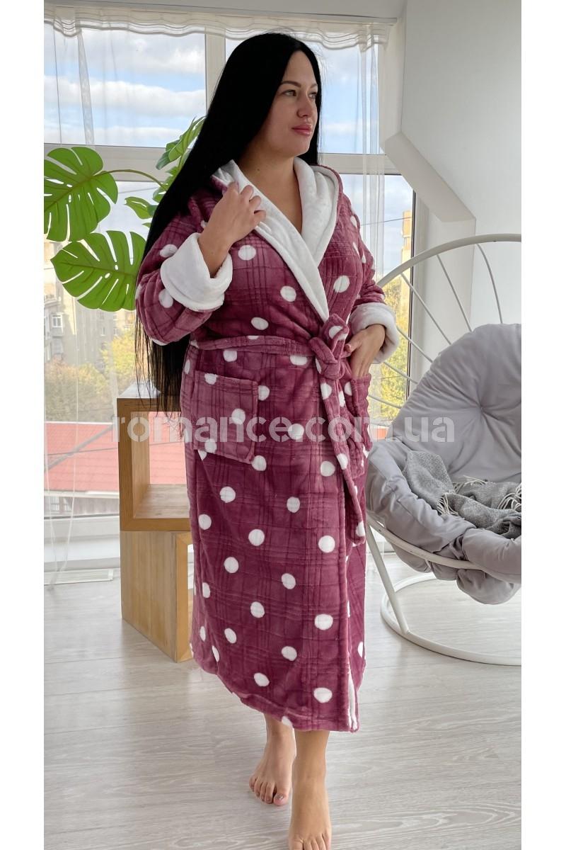 Женский Горошек Бордо махровый халат Woman Romance Style 2184
