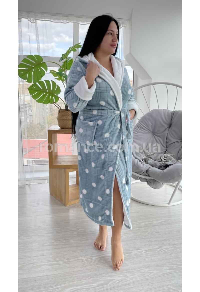 Женский Горошек бирюзовый махровый халат Woman Romance Style 2186