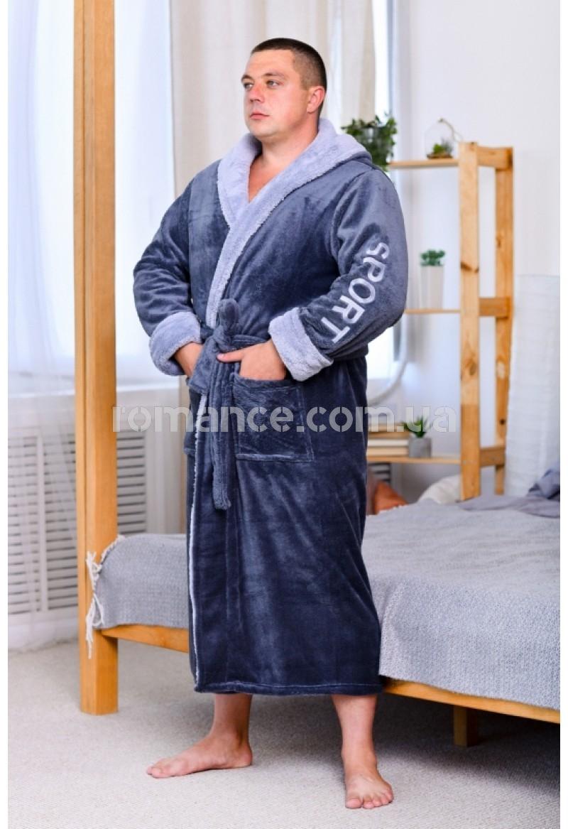 Мужской махровый серый халат Man Sport Romance Style 2382