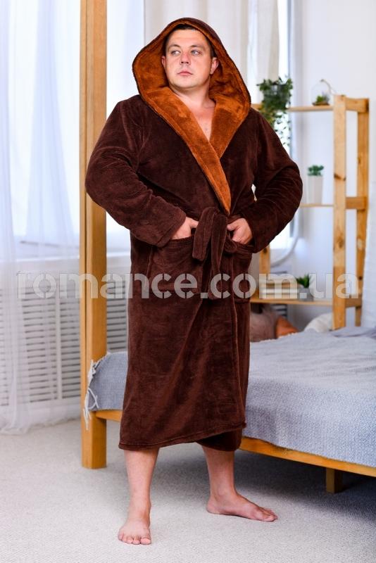 Мужской махровый коричневый халат Man Romance Style 2371