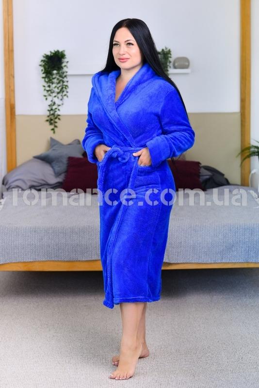 Женский синий махровый халат Woman Romance Style 2101