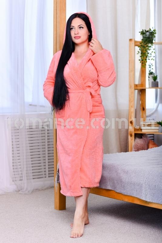 Женский розовый махровый халат Woman Romance Style 2102