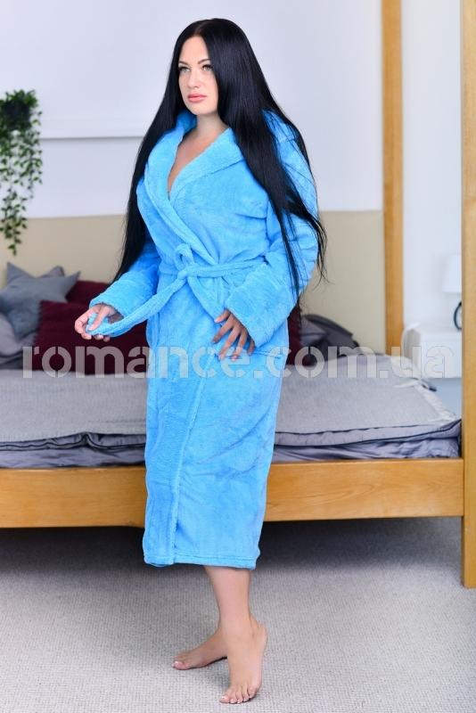 Женский голубой махровый халат Woman Romance Style 2104