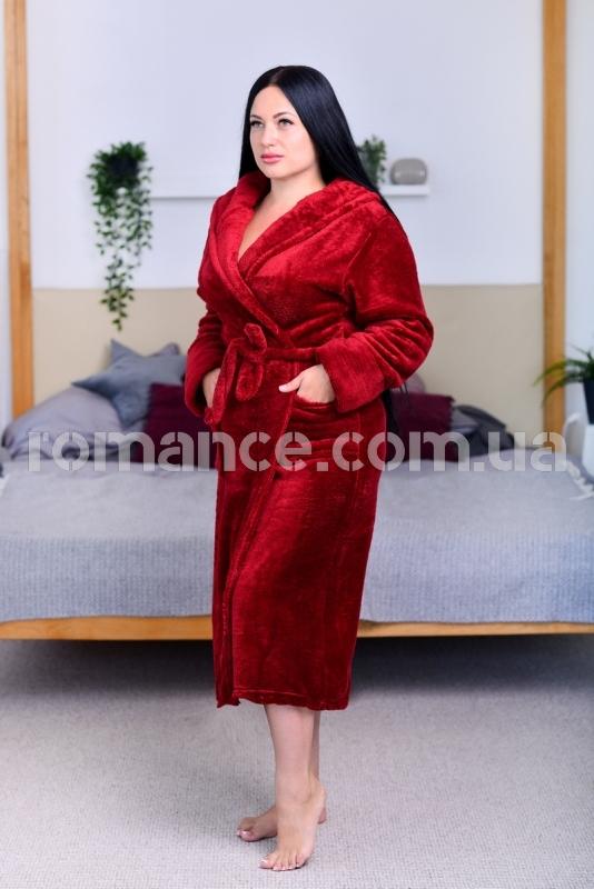 Женский бордовый махровый халат Woman Romance Style 2105