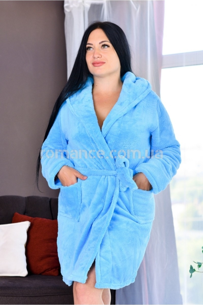 Женский махровый короткий голубой халат Woman Romance Style 2121