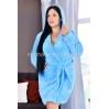 Женский махровый короткий синий халат Woman Romance Style 2124