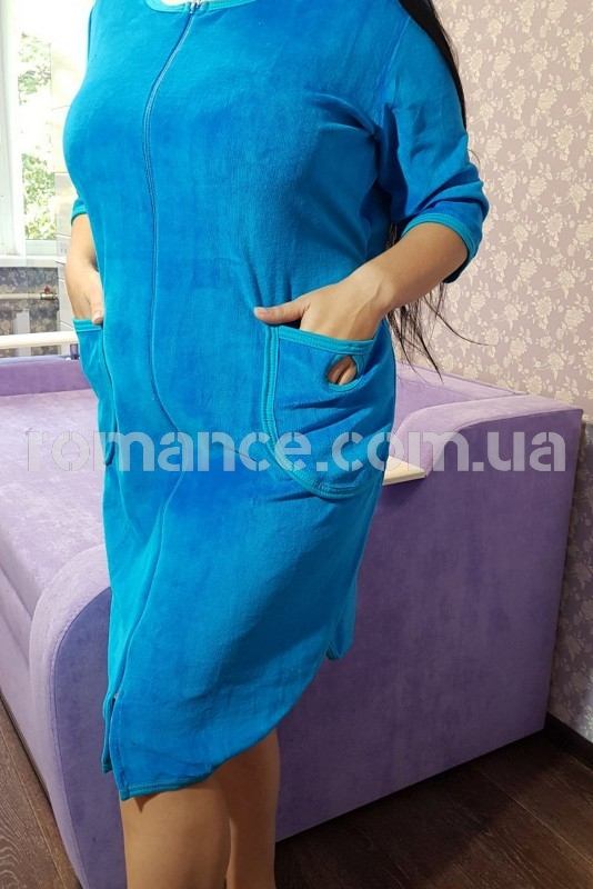 Халат женский велюровый голубой Fashion Romance VL-151  46-56 р.